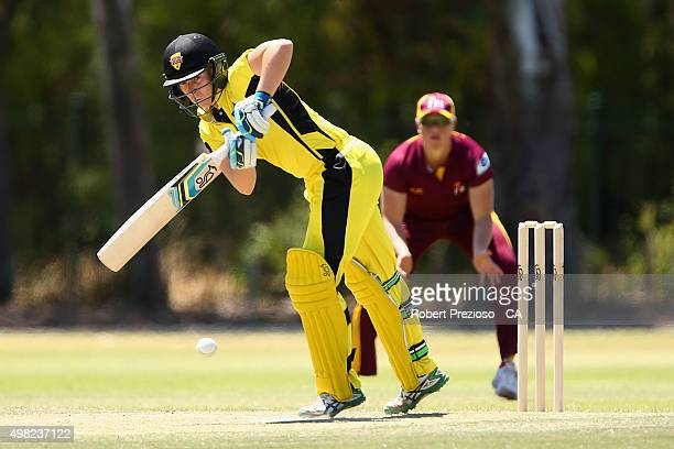 Elyse Villani of Western Australia plays a shot during the WNCL match between Queensland and Western Australia at Park 25 on November 22 2015 in...