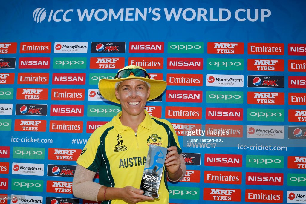 Elyse Villani with The Player of The Match award after The ICC Women's World Cup 2017 match between Pakistan and Australia at Grace Road on July 5, 2017 in Leicester, England.