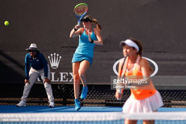 Elysia Bolton of the United States and Nicole Mossmer of the United States in their doubles match against Alexa Noel of the United States and Rina...