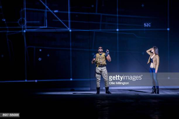 Elysia Wren and Mark Ebulue play out a scene during the 'Fast Furious Live' technical rehearsal at NEC Arena on December 18 2017 in Birmingham England