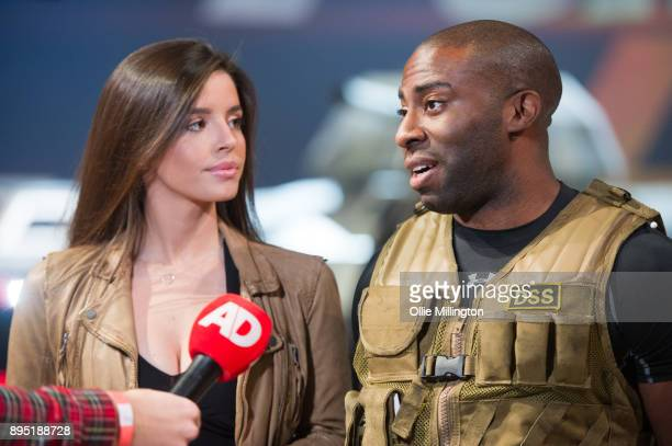Elysia Wren and Mark Ebulue take questions from the press during the 'Fast Furious Live' technical rehearsal at NEC Arena on December 18 2017 in...