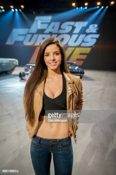 Elysia Wren poses during the 'Fast Furious Live' technical rehearsal at NEC Arena on December 18 2017 in Birmingham England