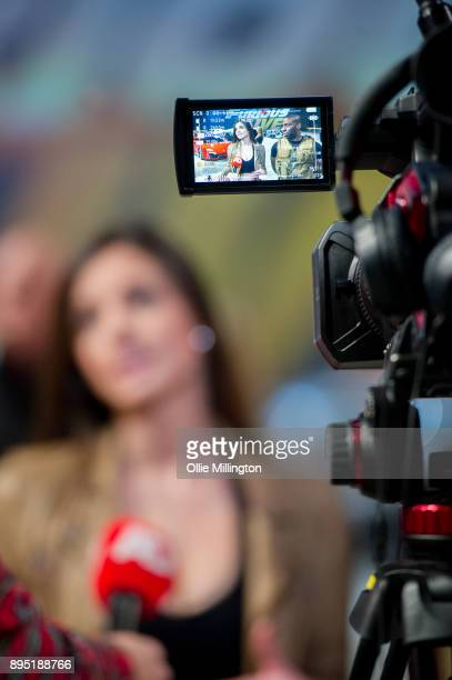 Elysia Wren takes questions from the press during the 'Fast Furious Live' technical rehearsal at NEC Arena on December 18 2017 in Birmingham England