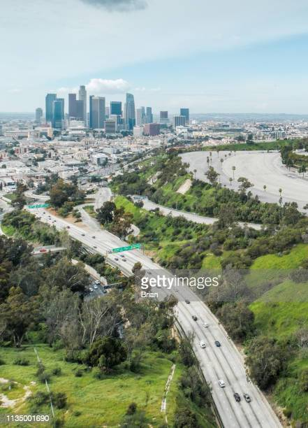 elysian park, los angeles - aerial over ca 110 freeway - pasadena freeway stock pictures, royalty-free photos & images