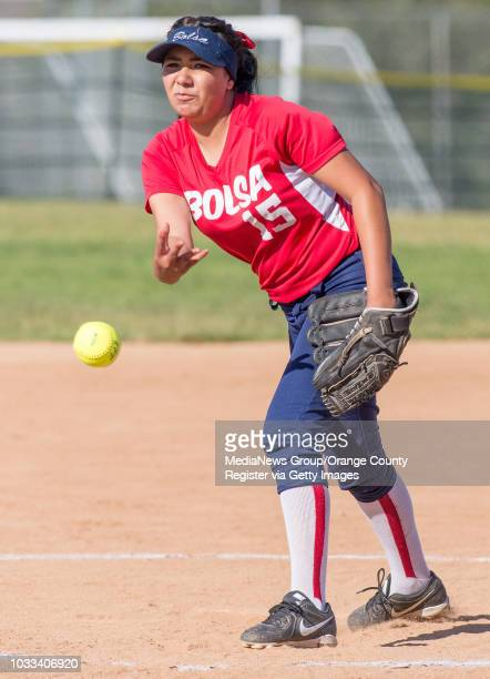 Elyssa Lopez of Bolsa Grande pitches against Laguna Beach in a softball game atThurston Middle School in Laguna Beach ///ADDITIONAL INFORMATION...