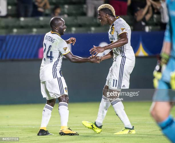 Ema Boateng of Los Angeles Galaxy celebrates his goal with Gyasi Zardes of Los Angeles Galaxy during the Los Angeles Galaxy's MLS match against...