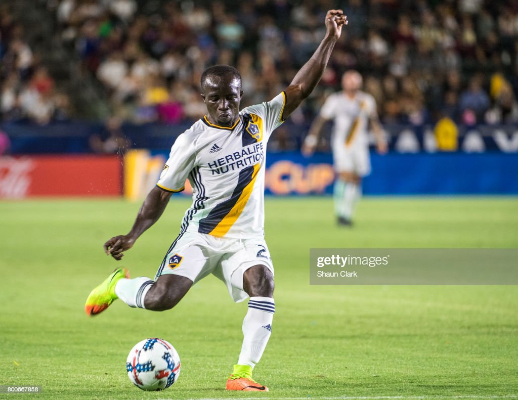 Ema Boateng #24 of Los Angeles Galaxy during the Los Angeles Galaxy's MLS match against Sporting KC at the StubHub Center on June 24, 2017 in Carson, California. Sporting Kansas City won the match 2-1