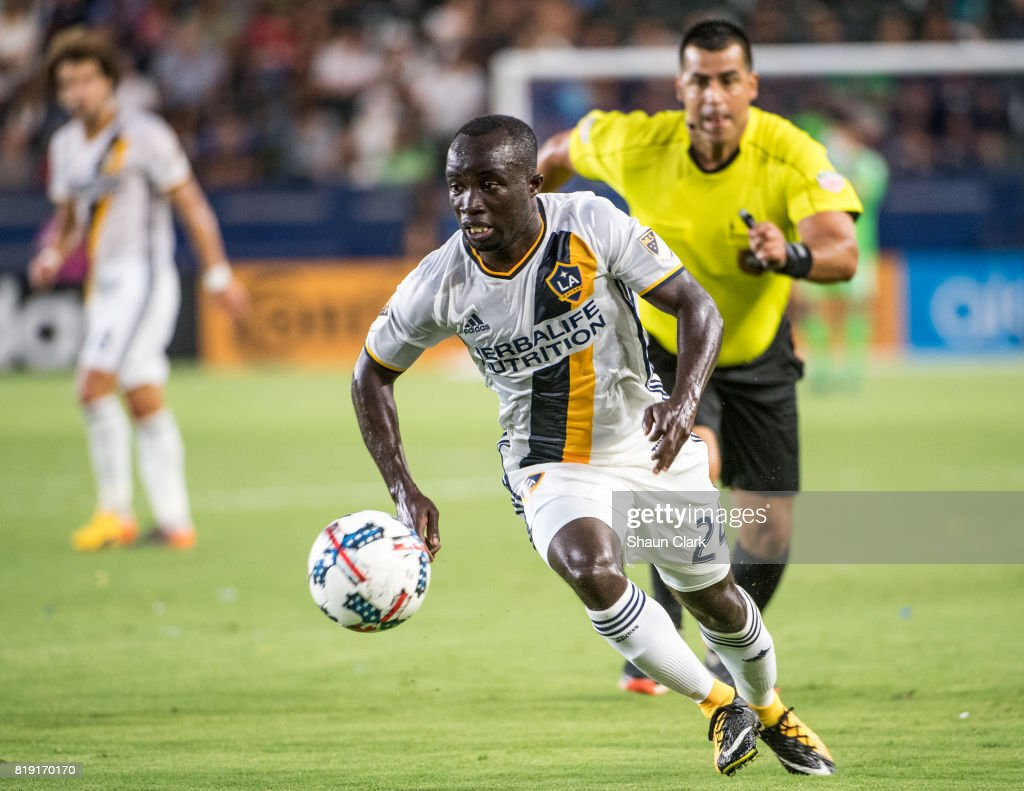 Ema Boateng #24 of Los Angeles Galaxy during the Los Angeles Galaxy's MLS match against Vancouver Whitecaps at the StubHub Center on July 19, 2017 in Carson, California. Vancouver won the match 1-0