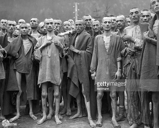 Emaciated survivors of one of the largest Nazi concentration camps at Ebensee Austria entered by the 80th division US Third army on May 7 1945