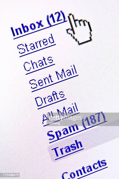 e-mail inbox screenshot displayed on computer monitor - e mail inbox stock pictures, royalty-free photos & images