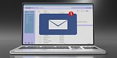 Email message inbox notification on laptop screen, grey black background. 3d illustration
