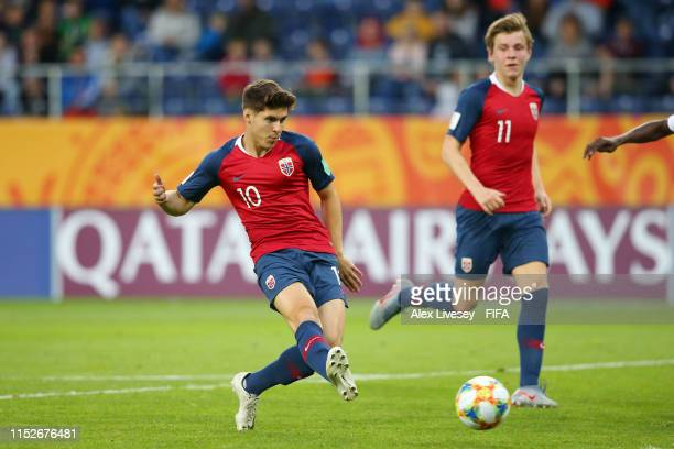 Eman Markovic of Norway scores his team's tenth goal during the 2019 FIFA U20 World Cup group C match between Norway and Honduras at Arena Lublin on...