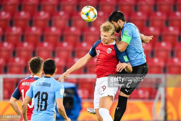 Eman Markovic of Norway U20, Juan Sanabria of Uruguay U20, Erling Haland of Norway U20, Bruno Mendez of Uruguay U20 during the FIFA U-20 World Cup...