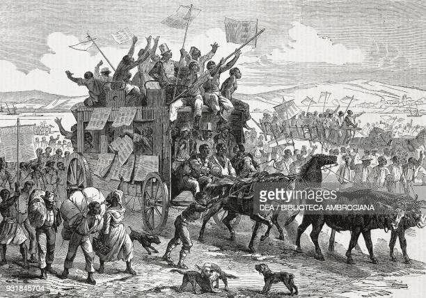 Emancipated slaves travelling north waving Lincoln's proclamation United States of America illustration from Il Giornale Illustrato Year 2 No 33...