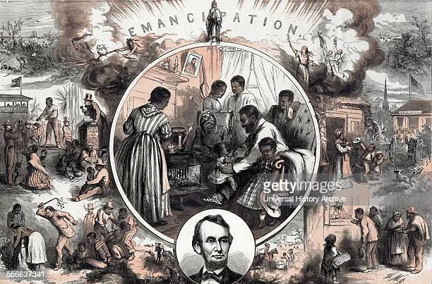Emancipation from an engraved illustration by Thomas Nast 18401902 c1865 Thomas Nast's celebration of the emancipation of Southern slaves with the...