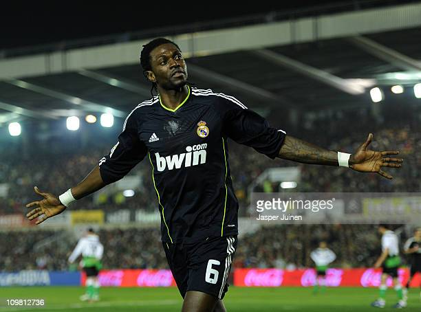 Emanuel Abadayour of Real Madrid celebrates scoring his sides opening goal during the la Liga match between Racing Santander and Real Madrid at El...