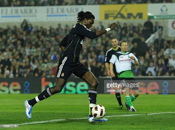 Emanuel Abadayour of Real Madrid scores his sides opening goal during the la Liga match between Racing Santander and Real Madrid at El Sardinero...