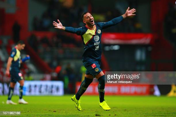 Emanuel Aguilera of America celebrates after scoring the third goal of his team during the 17th round match between America vs Veracruz as part of...