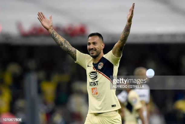 Emanuel Aguilera of America celebrates his goal against Pumas during the second round of semifinals of the Mexican Apertura tournament football match...