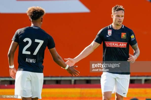 Emanuel Aiwu and Bjarne Thoelke of Admira during the tipico Bundesliga match between FC Flyeralarm Admira and WSG Swarovski Tirol at BSFZ Arena on...