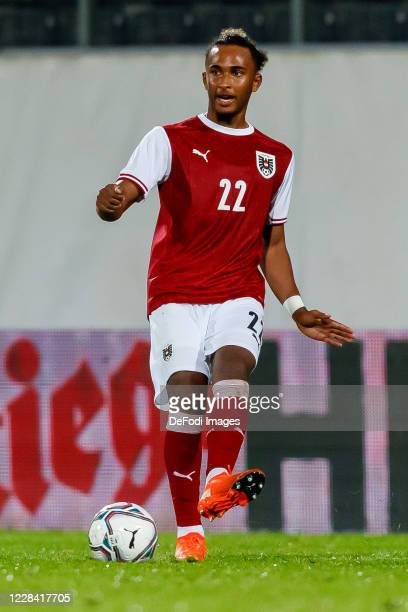 Emanuel Aiwu of Austria controls the ball during the UEFA Euro Under 21 Qualifier match between Austria U21 and England U21 at Keine Sorgen Arena on...