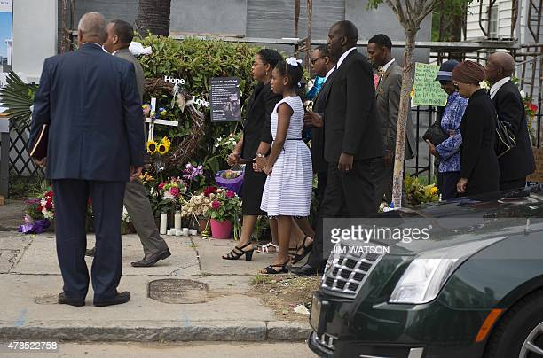 Emanuel AME Church Pastor Reverend Clementa Pinckney's wife Jennifer and two daughters Eliana and Malana arrive at the Emanuel AME Church for a...