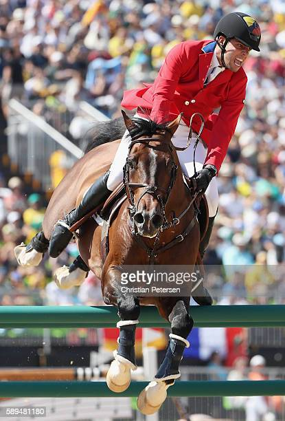 Emanuel Andrade of Venezuela riding Hardrock Z competes during the Jumping Individual and Team Qualifier on Day 9 of the Rio 2016 Olympic Games at...