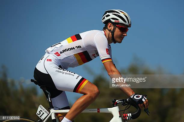Emanuel Buchmann of Germany and BoraArgon 18 rides to the start of stage three of the 2016 Tour of Oman a 1765km road stage from Al Sawadi Beach to...