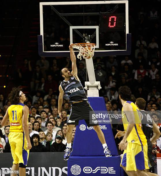 Emanuel Ginobili from Argentina dunks against Brazil during a basketball match between Argentina and Brazil as part of the Hope Funds Cup at Luna...