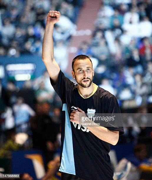 Emanuel Ginobili from Argentina looks at the staduim during a basketball match between Argentina and Brazil as part of the Hope Funds Cup at Luna...