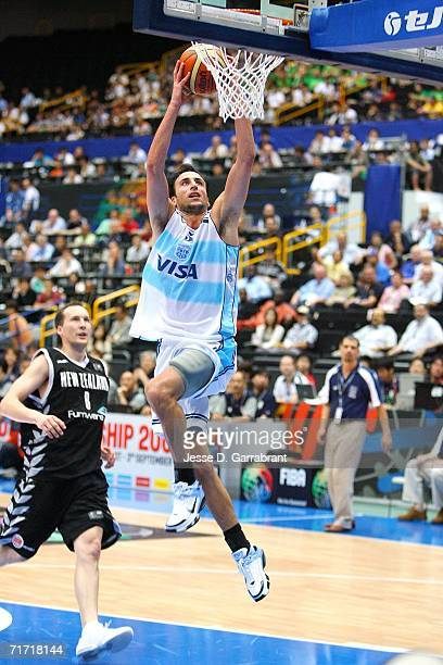 Emanuel Ginobili of Argentina goes to the basket against New Zealand during the FIBA World Basketball Championship at the Saitama Super Arena in...