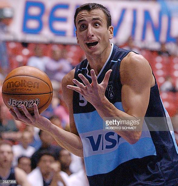 Emanuel Ginobili of Argentina reacts to a call by the referee against his team during their second round game against the Dominican Republic at the...