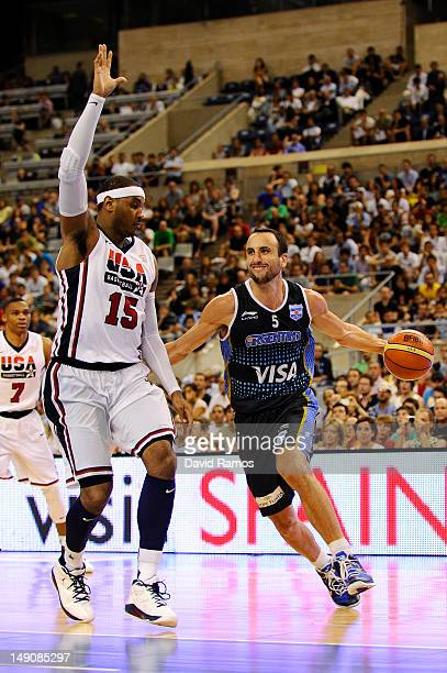 Emanuel Ginobili of the Argentina Men's Senior National Team drives to the basket against Carmelo Anthony of the US Men's Senior National Team during...