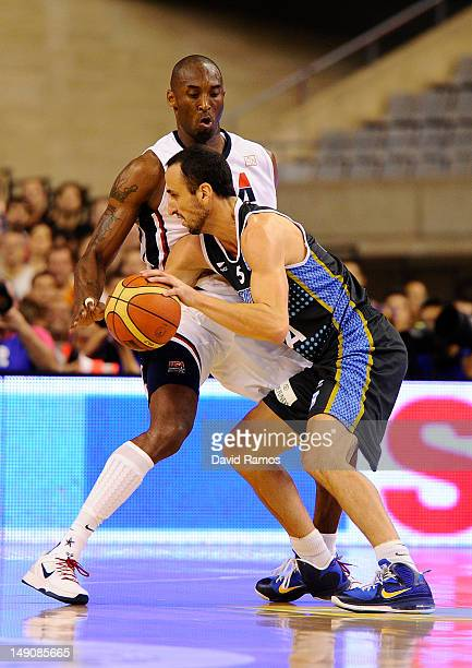 Emanuel Ginobili of the Argentina Men's Senior National Team duels with Kobe Bryant of the US Men's Senior National Team during a PreOlympic Men's...