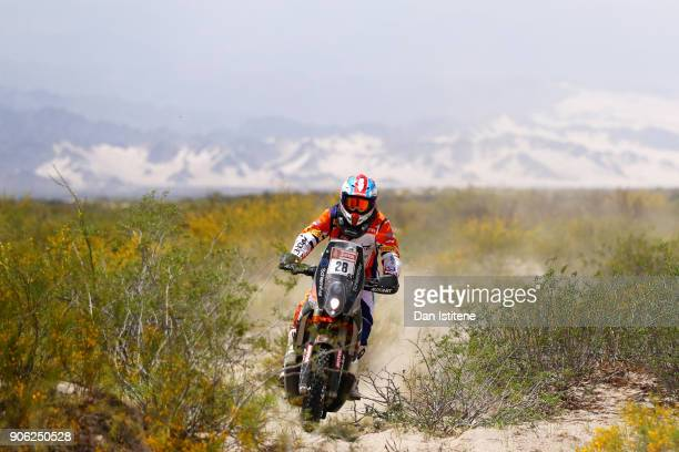 Emanuel Gyenes of Romania and Autonet Motorcycle Team rides a 450 Rally Replica KTM in the Classe 22 Marathon during stage eleven of the 2018 Dakar...
