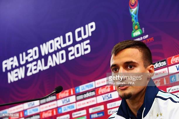 Emanuel Mammana attends a Argentina press conference at Wellington Regional Stadium on June 1 2015 in Wellington New Zealand