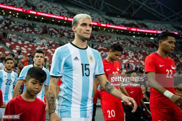 Emanuel Mammana of Argentina getting into the field during the International Test match between Argentina and Singapore at National Stadium on June...