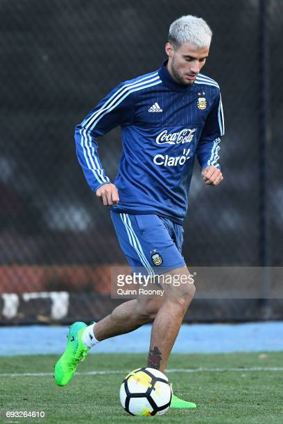 Emanuel Mammana of Argentina passes the ball during an Argentina Training Session at City Football Academy on June 6 2017 in Melbourne Australia