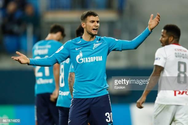 Emanuel Mammana of FC Zenit Saint Petersburg reacts during the Russian Football League match between FC Zenit St Petersburg and FC Lokomotiv Moscow...