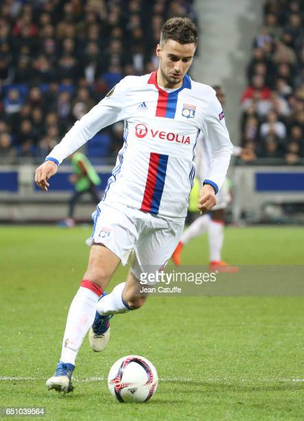 Emanuel Mammana of Lyon in action during the UEFA Europa League Round of 16 first leg match between Olympique Lyonnais and AS Roma at Parc OL on...
