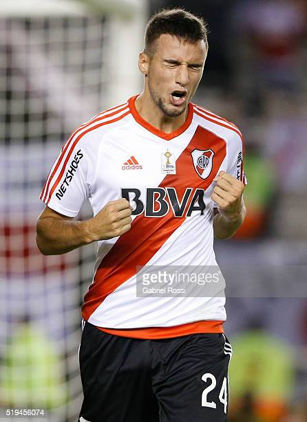 Emanuel Mammana of River Plate celebrates after scoring the fourth goal of his team during a match between River Plate and The Strongest as part of...