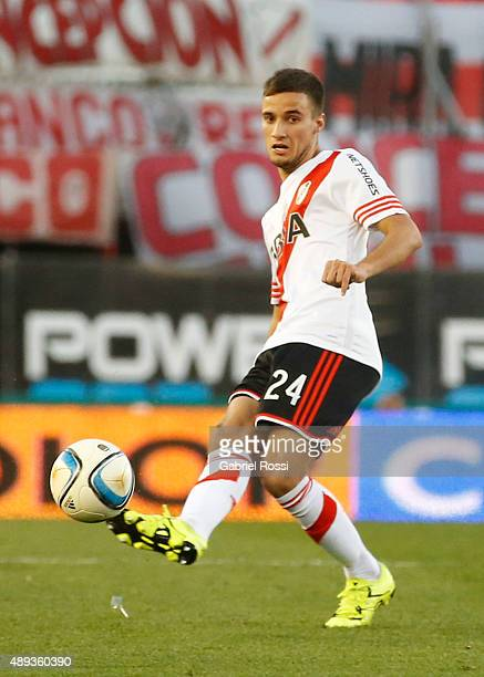 Emanuel Mammana of River Plate kicks the ball during a match between River Plate and Lanus as part of 25th round of Torneo Primera Division 2015 at...