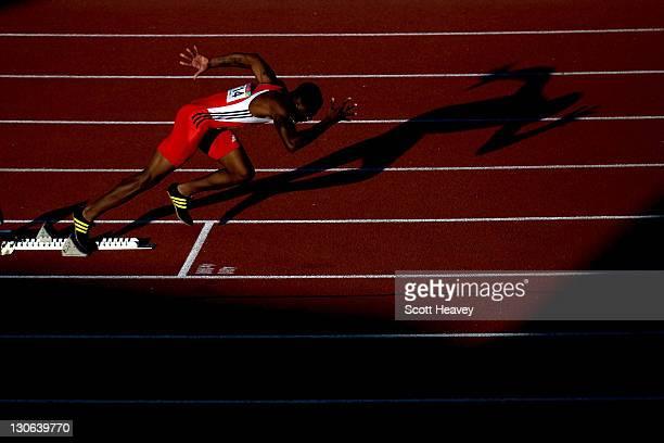 Emanuel Mayers of Trinidad and Tobago starts the men's 400m hurdles final during Day 13 of the XVI Pan American Games at Telmex Athletics Stadium on...