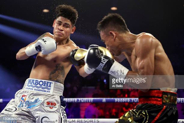 Emanuel Navarrete and Jeo Santisima exchange punches during their bout for Navarrete's WBO junior featherweight title on February 22 2020 at MGM...