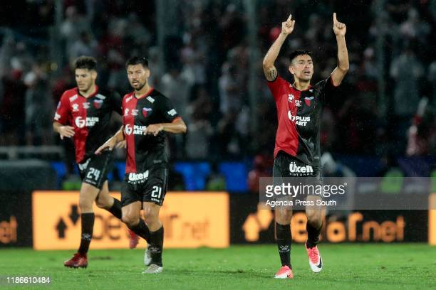 Emanuel Olivera of Colon celebrates after scoring the first goal of his team during the final of Copa CONMEBOL Sudamericana 2019 between Colon and...