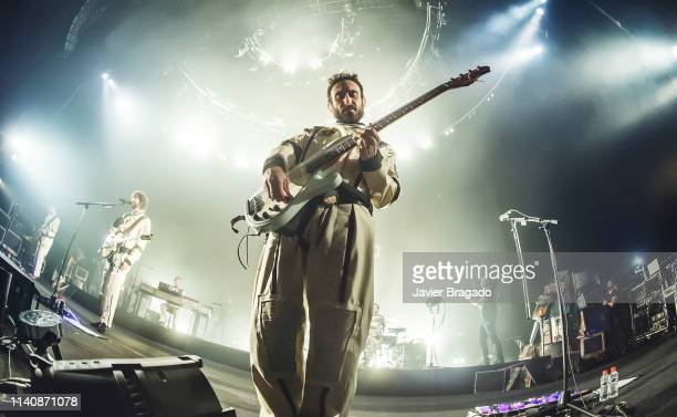 Emanuel Perez from the band Izal performs in concert on stage at WiZink Center on April 06 2019 in Madrid Spain