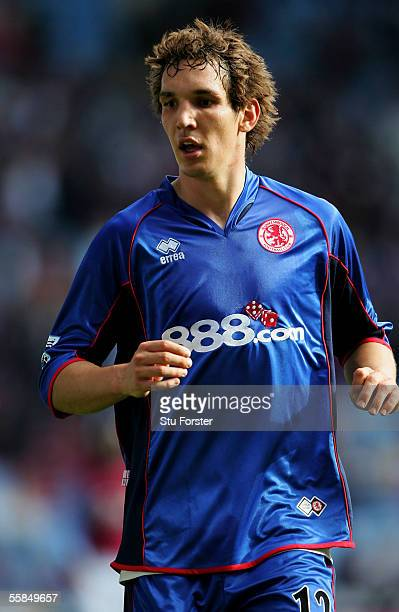 Emanuel Pogatetz of Middlesbrough during the Barclays Premiership match between Aston Villa and Middlesbrough at Villa Park on October 2 2005 in...