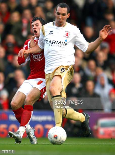 Emanuel Pogatetz of Middlesbrough holds off Ivan Sproule of Bristol City during the FA Cup Sponsored by eon Third Round match between Bristol City...