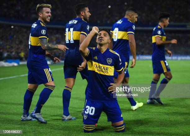Emanuel Reynoso of Boca Juniors celebrates after scoring the third goal of his team during a Group H match between Boca Juniors and Deportivo...