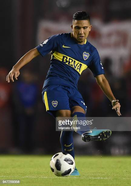 Emanuel Reynoso of Boca Juniors kicks the ball during a match between Independiente and Boca Juniors as part of Superliga 2017/18 on April 15 2018 in...
